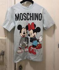 Moschino X H&M Mickey Minnie Mouse T-Shirt Man Size XS Blue Disney Printed NWT