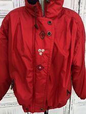 Vtg OBERMEYER Women's Parka Size 10 L XL Bright Red Blue Snow Jacket Embroidered