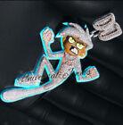 Halloween 2.9ct Round Sim Diamond Mens Enamel Angary Boy Charm Pendant Free Stud