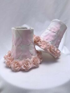 """2 Small Light Lamp Shades Clip On Chandelier Pink Roses and Rose Petals 4 3/4"""""""