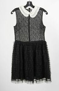 Red Valentino Black Polyester Tulle Tiered Peter Pan Collar Sleeveless Dress 40