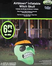 Halloween 6 ft Lights Up Witch SKull Airblown Inflatable NIB