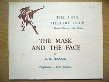 .1950s Arts Theatre Club Programme: THE MASK AND THE FACE by C B Fernald
