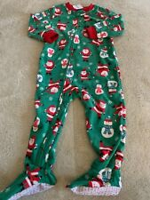 NEW Carters Boys Green Red Santa Snowman Fleece Long Sleeve Pajamas 2T