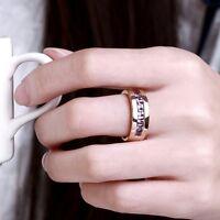 18K Rose Gold GP Purple Swarovski Crystal Solid Wedding Engagement Ring Size 8
