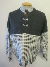 """Traditional Vintage Nordic Norwegian Pattern Clasp Neck Jumper Size L 42-44"""""""