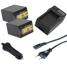 2x Batteria Patona + caricabatteria casa/auto per Sony HDR-PJ30VE,HDR-PJ320E