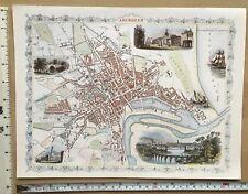 "Old Antique colour map Aberdeen, Scotland: 1800's, 1851: 12 x 9"" Tallis reprint"