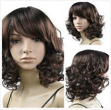 Hot Sale Women Medium Brown Fashion Curly Hair Cosplay Heat Resistant Full Wigs