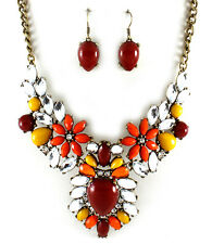 Bold Necklace Set Burgundy Yellow Orange Floral Fashion Statement Jewelry