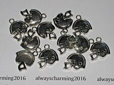 """12 - """"FLAT FOOTBALL HELMET"""" - SILVER FOOTBALL CHARMS FOR JEWELRY"""