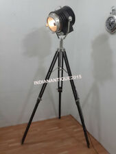 Nautical Wooden Spot Search Light with Black Tripod Floor Lamp Stand Home Decor
