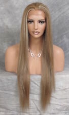 Human Hiar blend Lace Front Wig Heat OK Long Straight AHI Brown mix 8-27-613