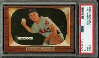 1955 Bowman BB Card #129 Hal Naragon Cleveland Indians PSA NM 7 !!!