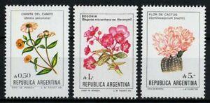 Argentina 1985/87 Sc#1523-1524-1526 - Flowers High Values Set of 3 Mint MNH VF