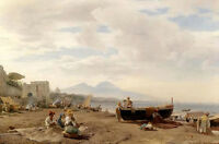Oil painting oswald achenbach - fisherman on the amalfi coast with boats canvas