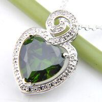 Holiday Gift Shiny Emerald Topaz Gemstone Silver Neckalce Pendant HL0017