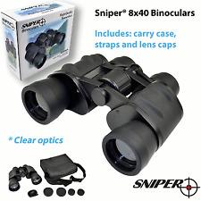 Sniper All Terrain Binoculars 8x40 Zoom 40mm; Clear Optics; Carry Case + Straps