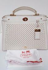 Coach Chalk Off White Gramercy Gold Studded Satchel Handbag Purse 35285 NWT