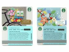 2 NEW NEVER USED 2013 & 2014 Spring Flowers, Coffee & Bicycle Starbucks Cards
