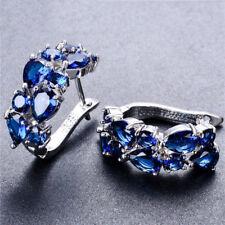 Blue Sapphire Ear Hoop Stud White Gold Filled Earrings Wedding Women's Jewelry