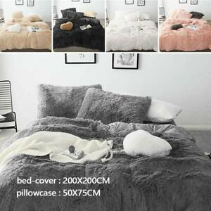 Teddy Bear Fleece Duvet Covers Quilt Cover Set Fluffy Warm Cosy Bedding  Sets