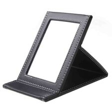 Makeup Mirror With Black Leather Frame, Portable and Foldable, Travel Make up Be