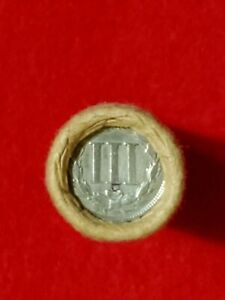 Unsearched Wheatie Roll w/ Nickel III (3-cent) Piece;1902 Indian Head Ends