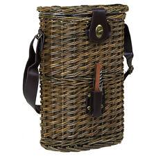 Charles Bentley pic-nic in vimini Brown Bottle cooler bag porta vino con Cinturino