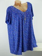 Shirt mit Kette Top  Bluse Lagenlook Größe 46- 54 one size marine blau geblümt w