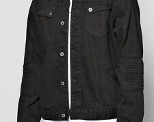 Boo Hoo Man Jet Black Denim Jacket Trucker Grunge Rocker Padded Biker Sleeve