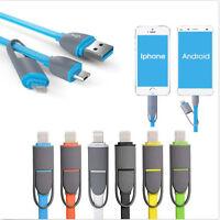 2en1 plana Micro USB Data cable del cargador para Samsung s6 iPhone 6s/Plus