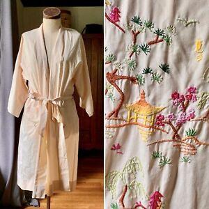 FEDO Vintage Kimono CHERRY BLOSSOM TREE Robe Ivory Embroidery PAGODA ONE SIZE