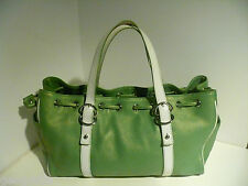 Kenneth Cole Green and White Leather Satchel Handbag Purse