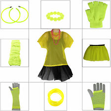 NEON YELLOW 1980s FANCY DRESS LEG WARMERS TUTU NECKLACE EARRING 80s HEN PARTY