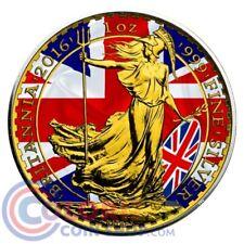 2016 1 oz £2 GBP UK Flag Silver Patriotic Britannia 24k Gold Gilded BOX & COA