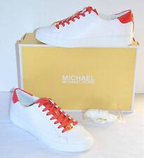 New $125 Michael Kos Irving Lace Up Leather Optic White/Watermelon 7 Sneakers