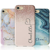 Personalised Marble Glitter Flowing Name with Heart Phone Case for iPhone Models