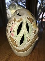 Signed Studio Pottery Egg Shaped Candle Holder