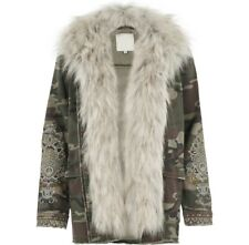 EX River Island Camo Print Denim Coat Jacket Detatchable Fur Size 6 - 18 RRP £70