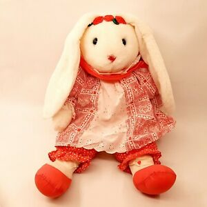 "Adorable 20"" Bunny Rabbit w/ Heart Outfit Stuffed Animal Plush Toy Easter"