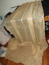 "DEEP GOLD SHEER EMBROIDERED CURTAIN PANEL 52WX94""L  2 available"