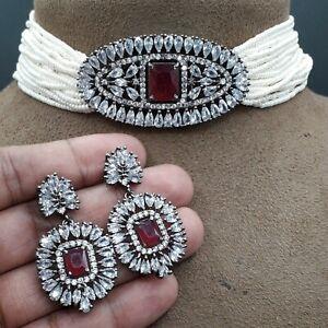 Indian Pakistan Bollywood Zircon American Diamond Partywear Wedding Necklace Set