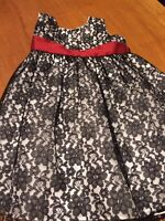 Girl's CRAYON KIDS Black Lace White Red Christmas Special Occasion Dress SZ 24m