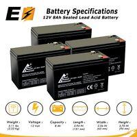 4 Pack 12 Volt (12V) 8 Amp (8Ah) VRLA AGM Sealed Lead Acid Rechargeable Battery