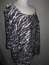 John Paul Richard Top Blouse Size XL Short Sleeve Metallic Silver Black White