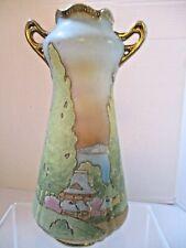 "Antique Nippon Porcelain Coralene Scenic Vase Purple Stamp 9.25"" Gorgeous"