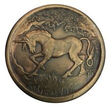 Vtg Unicorn Belt Buckle Flying Horse Mystical Mythology Beast Pegasus girls Star