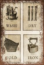 Laundry instruction Vintage Style Retro Metal sign plaque, clothes, washing