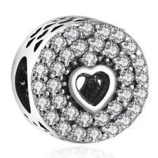 European 925 Silver CZ Charm Beads Pendant Fit sterling Bracelet Necklace N#657